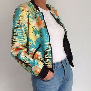 Tropical Satin Floral Bomber Jacket